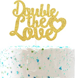 Double The Love Cake Topper,Twins Baby Shower/Birthday/Wedding Anniversary Party Decoration Supplies( Double Sided Gold Glitter )