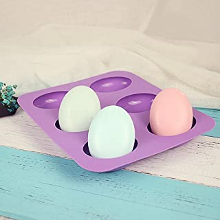 JoyGlobal 6 Cavity Silicone Oval Shape Easter Mould for Soaps Chocolate Jelly Desserts All Purpose Baking Mould (Soap Weig...