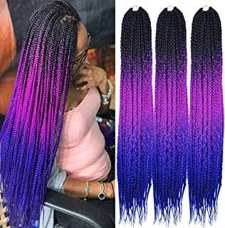 MSCHARM (6Packs) 24Inch Senegalese Twist Box Braids Crochet Braiding Hair Synthetic Hair Extension 22Strands/Pack(Black-Purple-Sapphire)