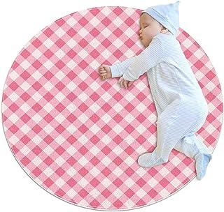 Rosa randig rutnät, barn rund matta polyester överkast matta mjuk pedagogisk tvättbar matta barnkammare tipi tält lekmatta