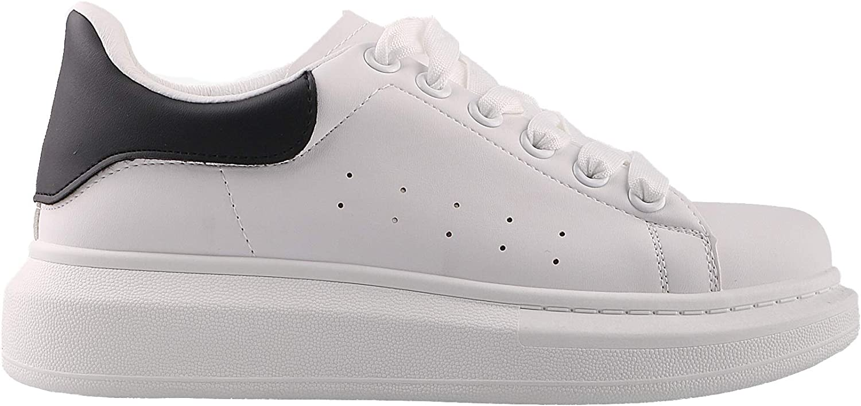 KRISP 3293-BLKWHT-6  Embellished Heel Lace Up Trainers Black White