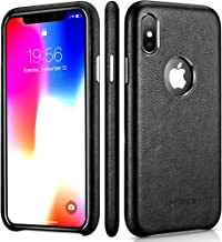 iPhone X Leather Case – Premium Leather iPhone X Case – Best Mobile Cell Phone Cases Protective Back Cover - Slim Fit PU Leather Case for Apple iPhone x 10 Ten iPhone X Black
