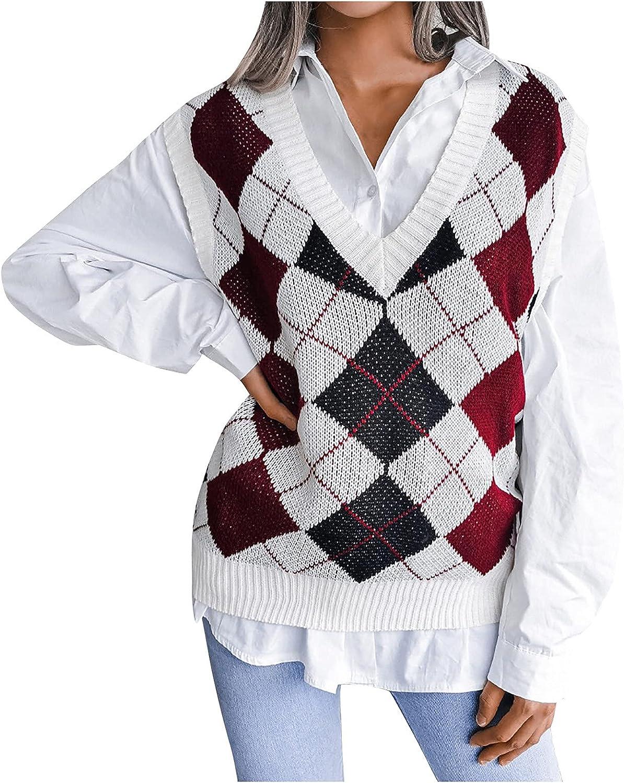 Women Knit Vest Argyle Pattern Cable Knitwear Sweater Vest V Neck Sleeveless Preppy Style Teens Pullover Tanks