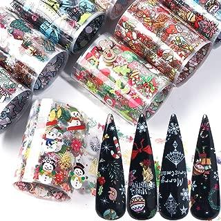 Christmas Nail Foil Transfers Stickers Nail Art Supplies 10 Pcs Santa Claus Snow Bell Christmas Tree Nail Decals Tips Wraps Nail Art Accessories for Women ChristmasDecor DIY Nail Art