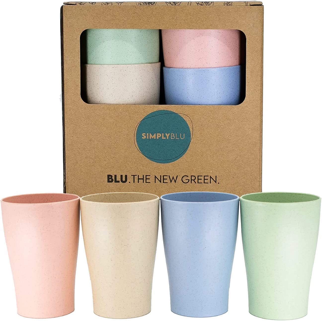 SimplyBLU Toddler Wheat Straw Cups – 8 oz Unbreakable Baby and Kids Drinking Cups for Milk, Juice, Water and Tea – Shatterproof, BPA-Free, Biodegradable and Eco-Friendly Tumbler Cups (Set of 4)