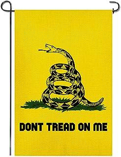 Shmbada Gadsden Don't Tread on Me علم حديقة الخيش ، مواد فاخرة مزدوجة الجانب ، لافتة موسمية خارجية أعلام صغيرة مزخرفة للمن...
