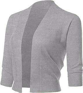 216945ba22d87b ARC Studio Women s Classic 3 4 Sleeve Open Front Cropped Cardigans ...