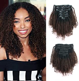 Lovrio 9A Grade Afro Kinkys Curly Clip in Virgin Human Hair Extensions Real Remy for Black Women Ombre Tone Natural Black Fading into Light Chocolate Brown TN/4 7 Pcs 120g 14