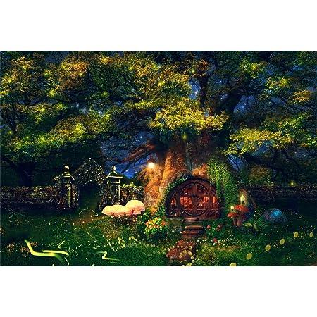 6x6FT Vinyl Photo Backdrops,Cartoon,Mushroom Houses Rainbow Photoshoot Props Photo Background Studio Prop