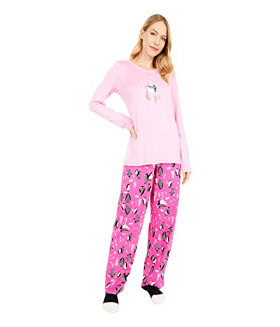 HUE Party Penguins Knit PJ Set with Socks (Begonia Pink) Women