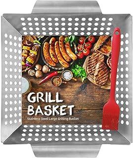 HomeMall Grillkorb für Fleisch & Gemüse – Große Grillschale – Edelstahl mit hohen Seiten – Bonus Backpinsel