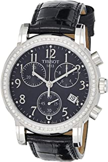 Tissot T050.217.16.052.01 Womens Quartz Watch, Chronograph Display and Leather Strap, Black