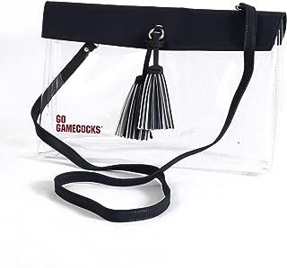 Desden South Carolina Gamecocks Clear Handbag with Logo, Vegan Leather Trim and Tassels