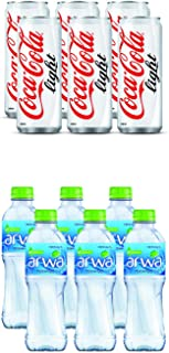Coca-Cola Light Carbonated Soft Drink in Can, 330 ml (Pack of 6) + Arwa Drinking Water, 500 ml (Pack of 6)