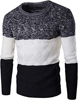 XWLY Men Sweater Round Neck Cross Knitting Pattern Spring and Autumn Comfortable Breathable Sweatshirt Business Casual Spo...