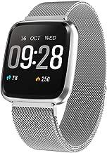 Kukakoo 2019 Smart Watch丨 Y7 1.3inch Hear Rate Fitness Tracker Smart Bracelet Call Remind Sport Wristband - Silver SteelPedometer Heart Rate Monitor Sleep Tracker for Men Women Children