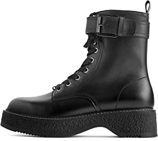Women Flat leather biker ankle boots with buckle 5152/001/040