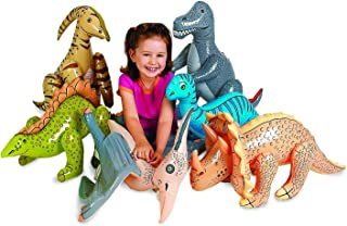 Pack of 6 pcs Jumbo Inflatable Dinosaurs, Dinosaurs Vinyl, Dinosaur inflatable Pool, Jumbo Dinosaurs -for Children Party Favors, Pool, Prizes, Birthday Gifts, Decorations