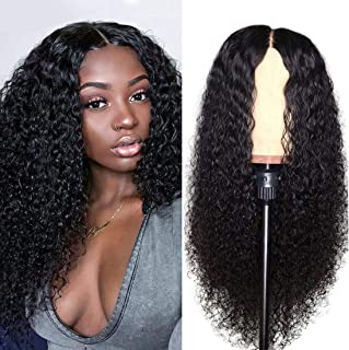 Julia 13x4 Curly Lace Front Human Hair Wig Pre Plucked with Baby Hair Natural Hairline,Brazilian Virgin Hair Curly Lace Front Wig for Women 150% Density(18inch)