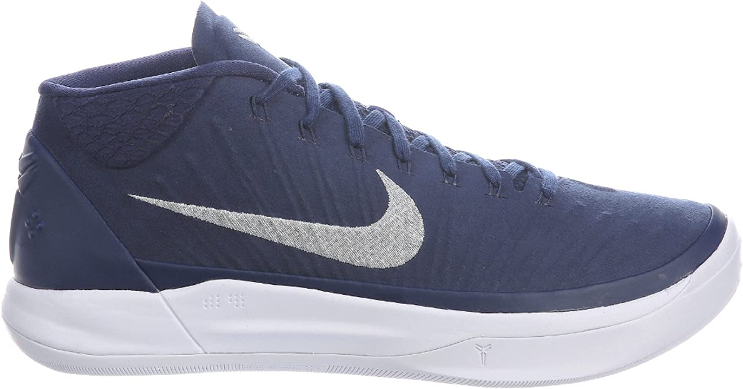 Nike Mens Kobe A.D. Midnight Navy Metallic Silver White Nylon Basketball shoes 9 D(M) US