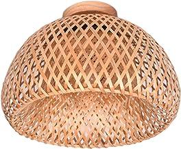 FAKEME Candeeiro de teto embutido feito à mão Luminárias de teto de bambu criativo Luz de lanterna de vime Lâmpada pendura...