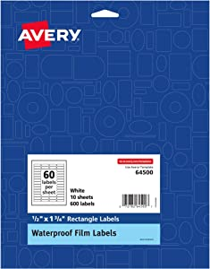 Avery Waterproof Oil-Resistant Film Labels - Lip Balm, Essential Oils, 0.5