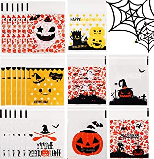 Funarty 240 Pcs Halloween Cookie Bags Cellophane Bags Self Adhesive Candy Bags, 8 Different Style Bags for Your Halloween Party