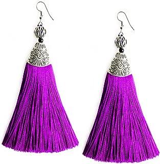 Women Girls Tassel Dangle Earrings Long Fringe Drop Silver Boho Ethnic Earring with Tassels