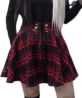 HAHAEMMA Mini Falda Mujer Plisada Escocesa Elegante Invierno Alta Cinturilla Elástica de Encaje Doble de la Colegiala (con...