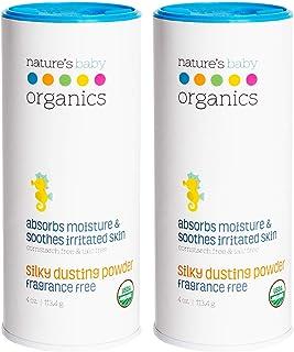 Nature's Baby Organics Baby Powder Talc Free Dusting Powder With Aloe Soft Gentle 100% Organic Baby Powder Hypoallergenic ...