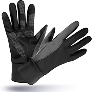 FanVince Running Gloves Touch Screen Winter Warm Glove - Windproof Water Resistant for Cycling Driving Phone Texting Outdoor Hiking Hand Warmer in Cold Weather for Women and Men Black-Gray