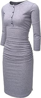NEARKIN Womens Midi Dresses Henley Neck 3/4 Sleeve Shirred Casual Tunic Dress