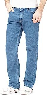 Inspire Me Mens Straight Leg Heavy Duty Jeans | 100% Cotton Jeans | Regular Straight Leg | Plain Denim Wash Stretch Fit Boys