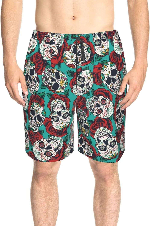 JINJUELS Men's Swim Trunks Mexican Roses Skull Beach Board Shorts Drawstring 3D Printed Board Shorts Swimwear with Pockets