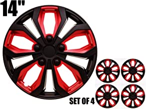 SUMEX 506138B Original Set of 4 Hub caps SPA, red and Black, Beautiful Design, Easy Installation, Universal fit for 14