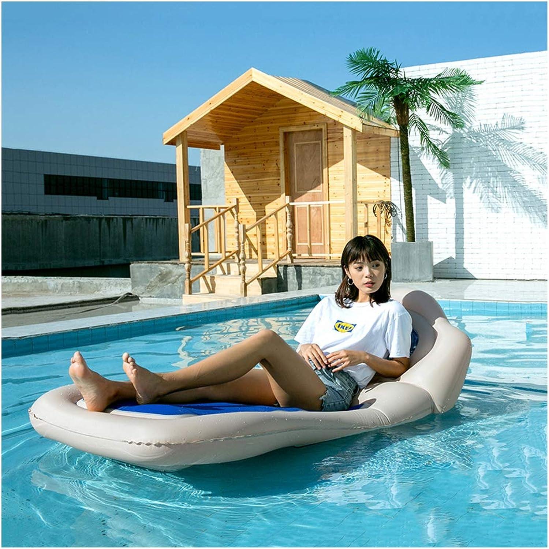 Aufblasbares Luftmatratze Wasser Schwimmreifen Schwimmtier mit Komfort Rückenlehne Schwimmen Pool Spielzeug Pool Flo Wasserspielzeug Floaties für Erwachsene Blau 175x90cm