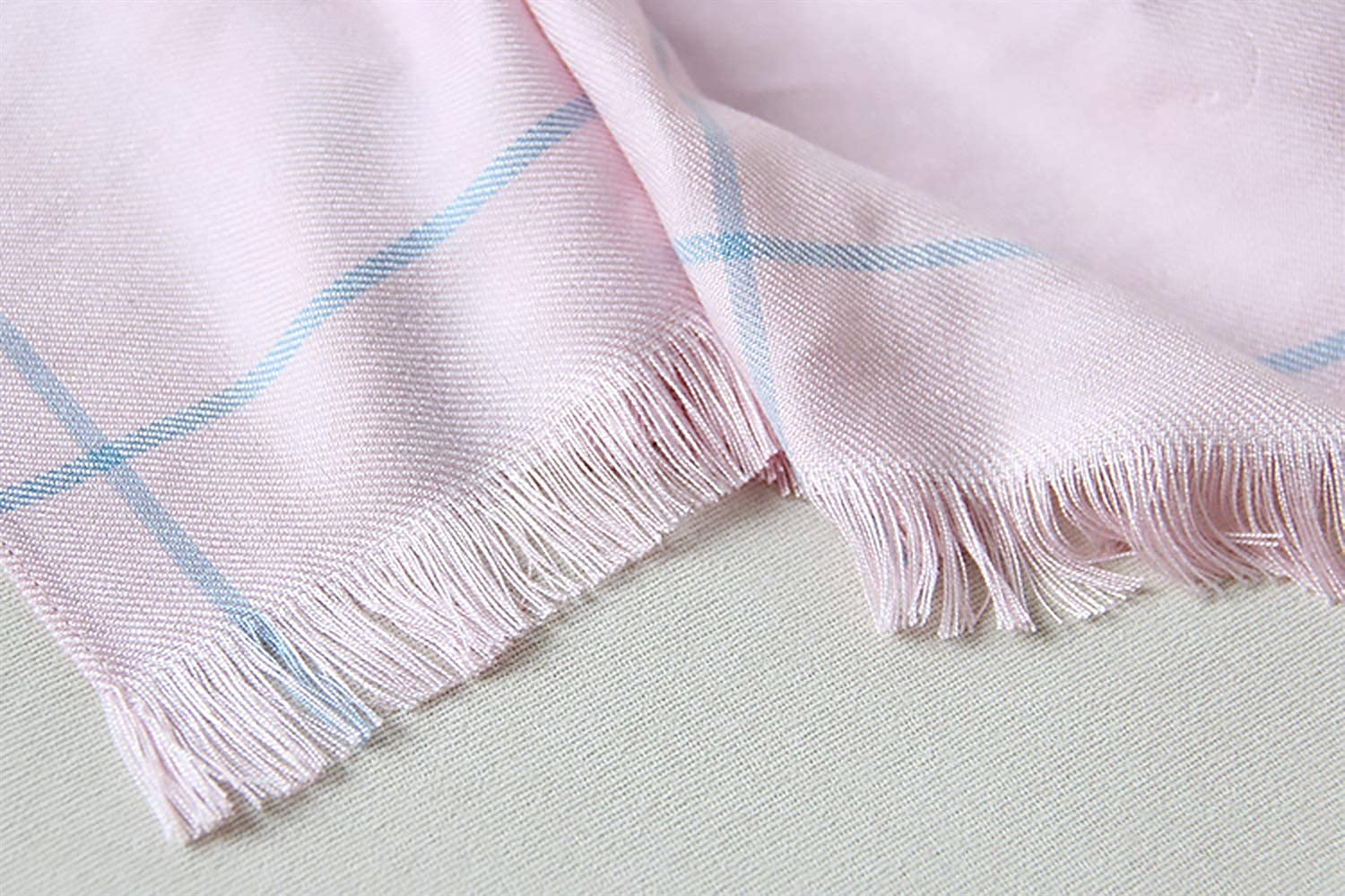 JUN Plaid Scarf Female Winter Long Section Thick Warm Tassel Long Section Cashmere Shawl (color   B)