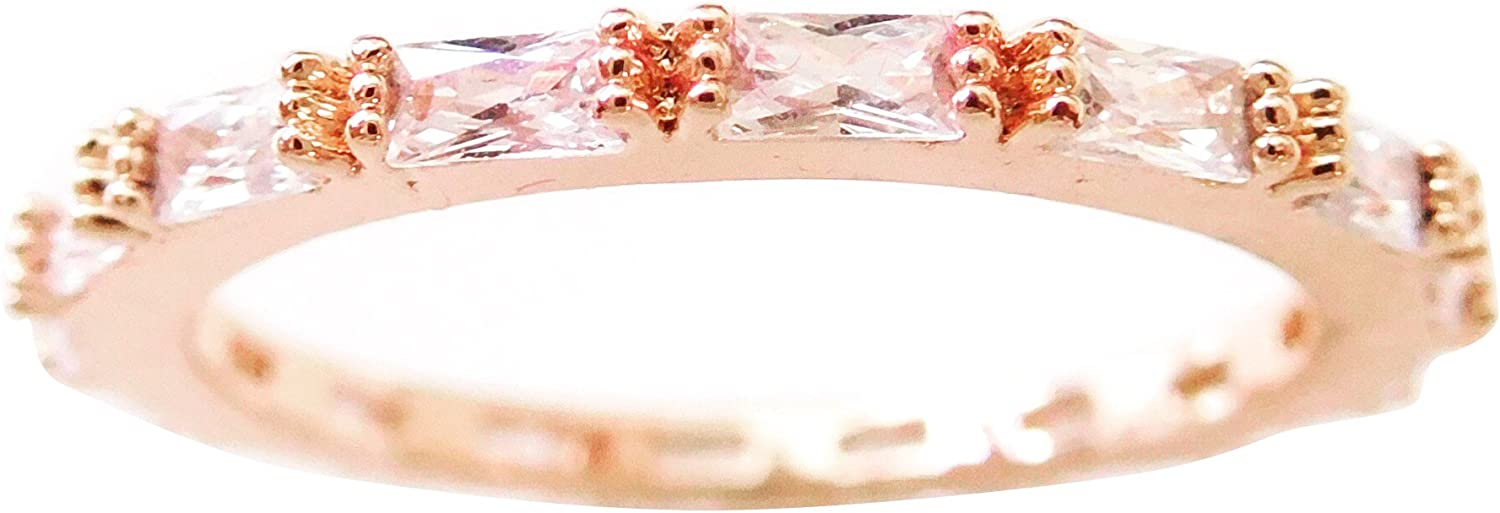Gieschen Jewelers Aeonia 18k Rose//White Gold-Plated Baguette CZ Eternity Band