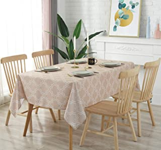 Aoohome Rectangular Fabric Tablecloth, Water Repellent Spill-Proof Table Cloth Geometric Pattern for Kitchen Tabletop Decoration, Heavyweight, Machine Washable, 60 x 120 Inch, Khaki