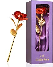 Childom, Valentines Gifts, Best Love Gift for Girlfriend, Red Rose Flowers Gifts Present 24K Gold Foil with Gift Box, Grea...