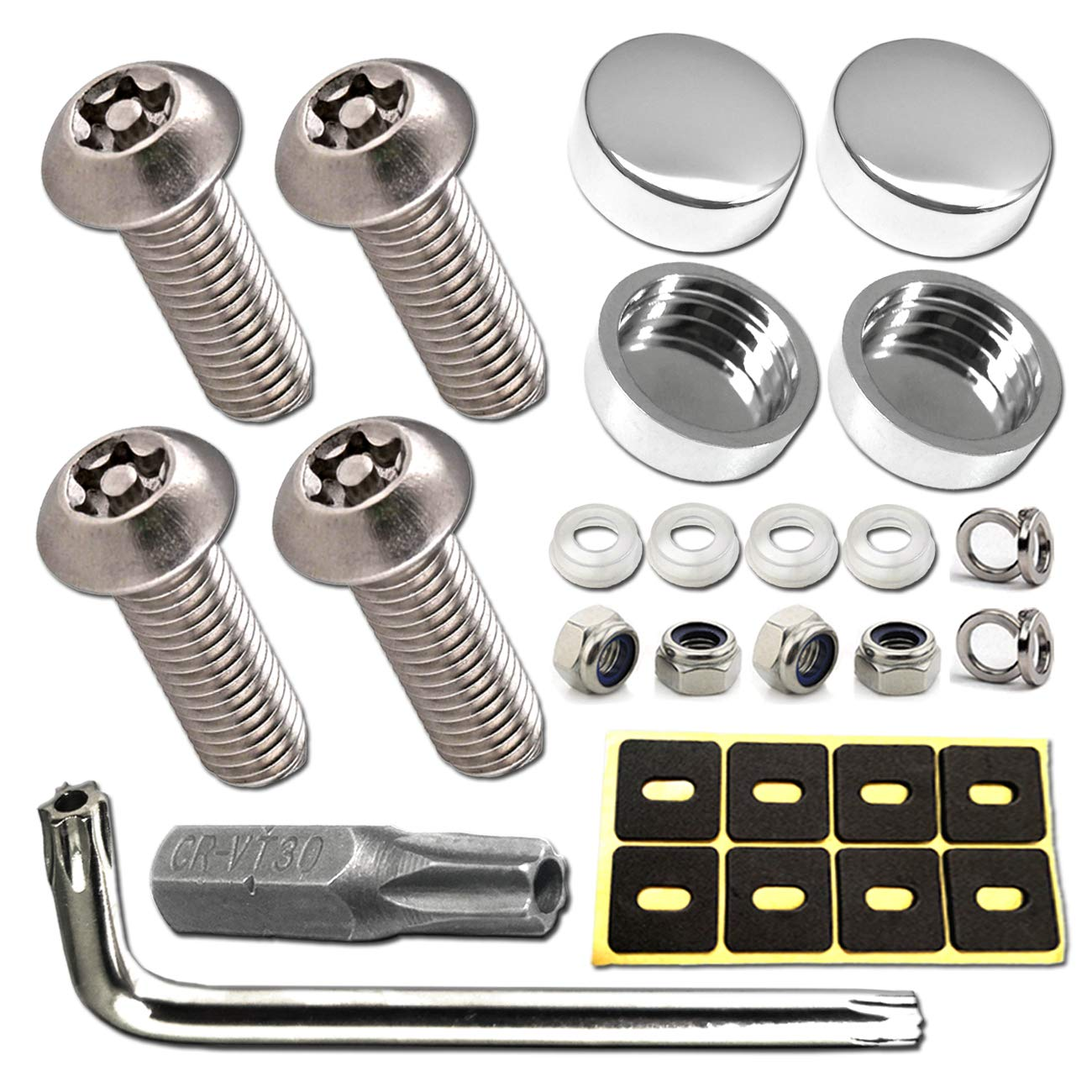 Anti-Theft Screws and Caps Included Premium Mirror License Plate Cover fit for Mercedes Benz License Plate Frame,Silver