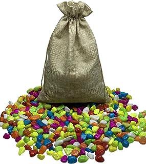 ديكورات ملونة من الحصى للأحجار مناسبة للديكور المنزلي، الحديقة، حوض السمك - 2 كجم (ألوان متعددة) في حقيبة أنيقة