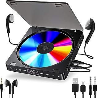 ACONAG Leitor de CD player portátil duplo versão de fone de ouvido botão touch button reprodutor cd walkman disciso recarr...