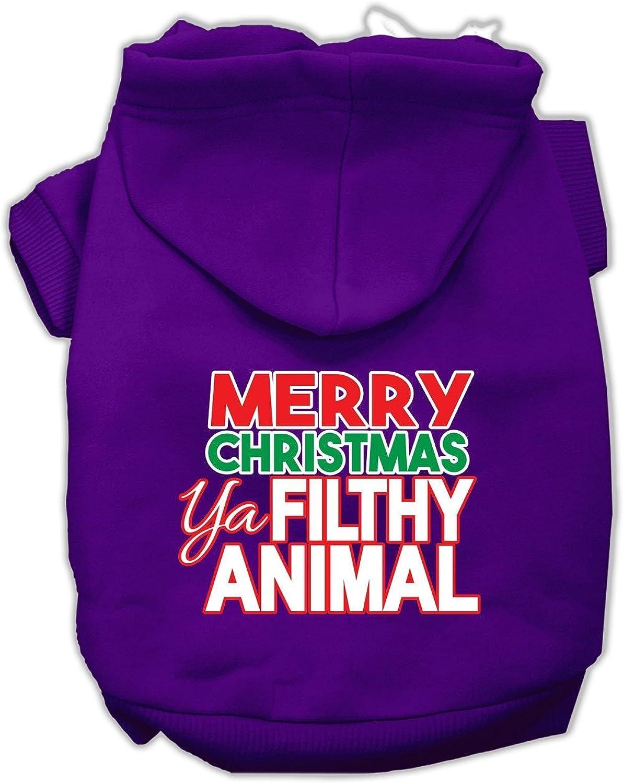 Mirage Pet Products 62148 LGPR Ya Filthy Animal Screen Print Purple Pet Hoodie, Large