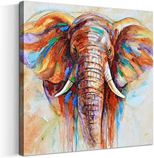 Crescent Art Original Design Large Contemporary Abstract Colourful Elephant Painting on Canvas Print Wall Art Picture for Living Room Bedroom Wall Decor (20 x 20 inch, Framed)