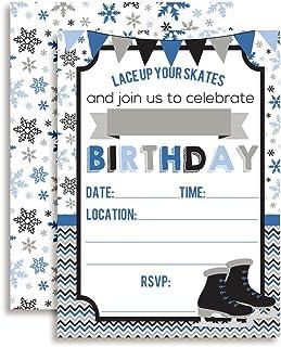 """Ice Skating Birthday Party Invitations Boys, 20 5""""x7"""" Fill in Cards Twenty White Envelopes AmandaCreation"""