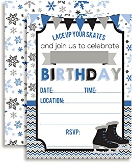 Ice Skating Birthday Party Invitations for Boys, 20 5