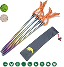 Tentock Ultralight Colorful Titanium Solid Camping Stakes Tent Peg swith Reflective Rope 4pcs/6pcs Pack in Storage Pouch