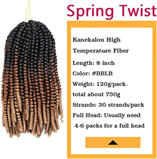 BaiHong 8inch 6packs Spring Twist Hair for Braids Ombre Crochet Hair Kinky Curl Hair Extension Kanekalon Synthetic Braiding Hair (8 inch, Black&Brown&Light Brown)