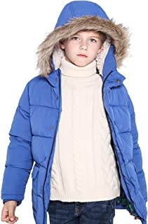 Lightweight Winter Coat for Boys Thick Warm Soft Puffy Cotton Hooded Jackets Water Resistant Windbreaker